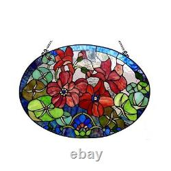 Handcrafted Roses Tiffany Style Stained Glass Window Panel 24 Wide x 18 High