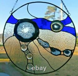 Handcrafted Round Cobalt Blue Stained Glass with Brazilian Agates/New