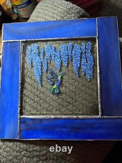 Handcrafted Stained Glass Hummingbird & Wisteria Panel Handpainted