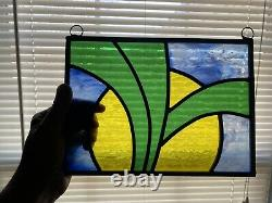 Handcrafted Stained Glass Panel 10-1/2 X 7-3/4