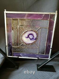 Handcrafted Stained Glass Panel For the Love of Purple, One of a Kind