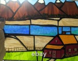 Handcrafted Stained Glass Panel Rocky Mountain Ranch