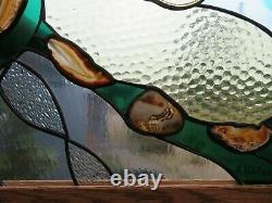 Handcrafted Stained Glass Panel with Brazilian Agates/New