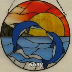 Handcrafted Stained Glass Round Panel with Dolphins/New