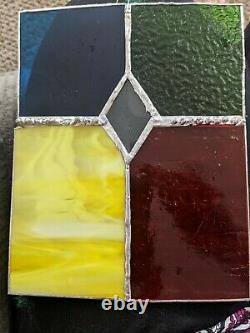 Handcrafted Stained Glass Suncatcher Panel Multi Color 6 X 8