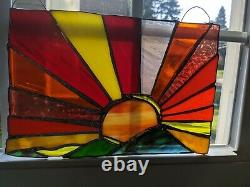 Handcrafted Stained Glass Suncatcher Panel Sunset Yellows And Oranges