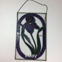 Handcrafted Stained Glass Window Panel Purple Iris Flowers 10 1/2 x 16 1/4