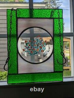 Handcrafted Stained Glass Window Panel Suncatcher, Handpainted