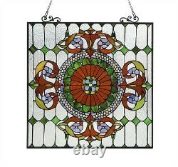 Handcrafted Tiffany Style Stained Cut Glass Window Panel 25 X 25