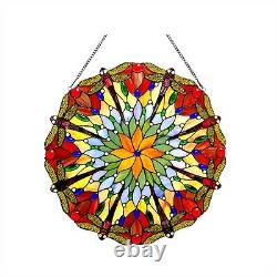 Handcrafted Tiffany Style Stained Glass 24 Round Window Panel Fantastic Colors
