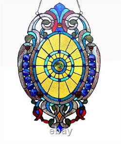 Handcrafted Tiffany Style Stained Glass Oval Window Panel Design 15 W x 23 T