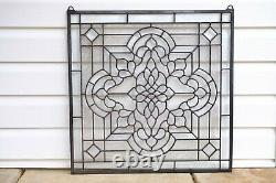 Handcrafted stained glass All Clear Beveled window panel, 24 x 24