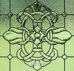 Handcrafted stained glass All Clear Beveled window panel 24 x 24