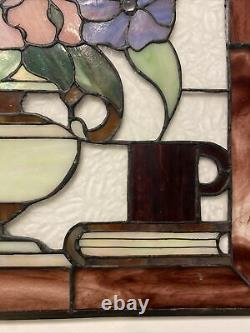 Handcrafted stained glass Arch panel Hummingbird, Flower, Coffee Book, 18x24