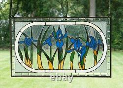 Handcrafted stained glass Beveled Iris Flowers window panel 34.75 x 20.5