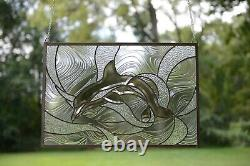 Handcrafted stained glass Clear Beveled Dolphin window panel, 24.25 x 16.5
