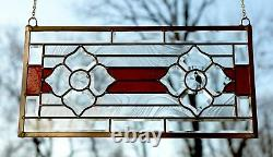 Handcrafted stained glass Clear Beveled window panel, 11 x 22