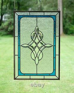 Handcrafted stained glass Clear Beveled window panel 16 x 24
