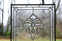 Handcrafted stained glass Clear Beveled window panel 20 x 20