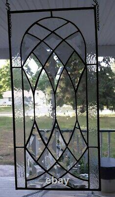 Handcrafted stained glass Clear Beveled window panel, 22 x 11