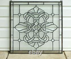 Handcrafted stained glass Clear Beveled window panel 24 x 24
