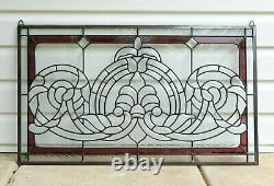 Handcrafted stained glass Clear Beveled window panel 34W x 20H