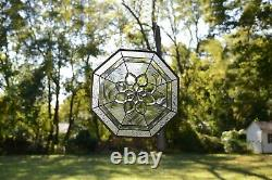 Handcrafted stained glass Clear Octagon Beveled window panel 20 x 20