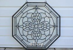 Handcrafted stained glass Clear Octagon Beveled window panel 24 x 24
