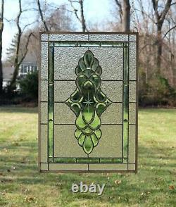 Handcrafted stained glass Green & Clear Beveled window panel 19 x 27
