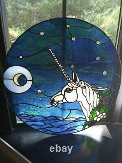 Handcrafted stained glass Round window panel unicorn