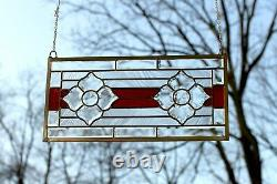 Handcrafted stained glass red Clear Beveled flowers window panel, 11 x 22