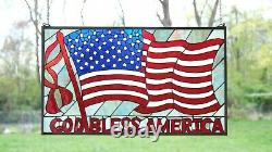 Handcrafted stained glass window panel American Flag Art Glass Panel 34W x 20H