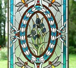Handcrafted stained glass window panel Dragonfly Iris Flowers, 20.5 x 34