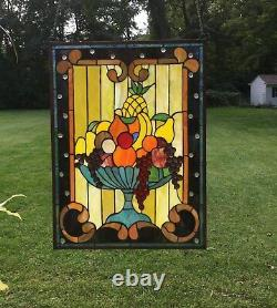 Handcrafted stained glass window panel Fruit Basket, 22 X 30