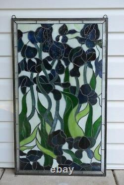 Handcrafted stained glass window panel Iris Flowers, 20.5 x 34.5