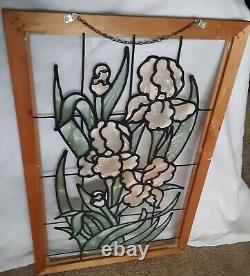 Handcrafted stained glass window panel Iris Flowers, 26.5 x 17.5