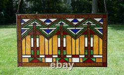 Handcrafted stained glass window panel Mission style panel, 34.5W x 20.5H