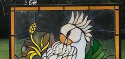 Handcrafted stained glass window panel Parrot White Cockatoo 24.75 x 24.75