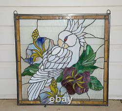 Handcrafted stained glass window panel Parrot White Cockatoo Bird Flower 24x24
