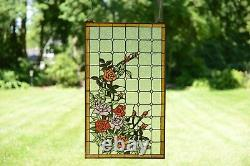 Handcrafted stained glass window panel Rose Flowers, 20 x 34