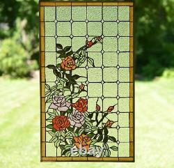 Handcrafted stained glass window panel Rose Flowers Blossom