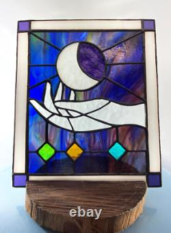 Handmade Moon Goddess'Birth' or'Caress' Stained Glass Panel Window Handcrafted