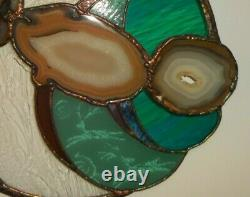 Handmade Stained Glass Art Window 3 Large Agates Etched Glass Rock Art 16.5 Dia