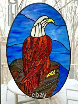 Large Eagle Stained Glass Panel. Handcrafted