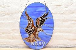 Large Eagle Stained Glass Window Panel. Handcrafted Round OVAL Hanging