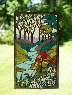 Large Handcrafted stained glass window panel Deer Drinking Water 20 x 34