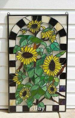 Large Handcrafted stained glass window panel Sunflower Garden 20.75 x 35