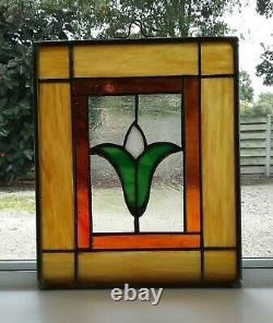Lovely Vintage Hand Crafted Leaded Stained Glass Panel Window Floral Tulip