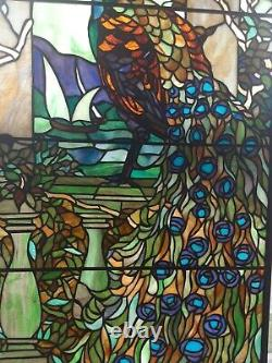 Majestic Peacock Hand-crafted Hanging Grapes Glass Window Panel 40×19