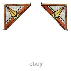 Mission Tiffany Style Stained Glass Corner Window Panel 8 x 8 Handcrafted PAIR